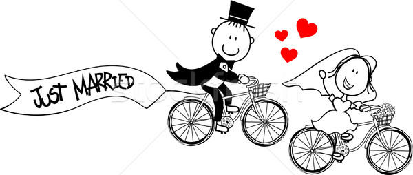 funny bride and groom on bicycles Stock photo © hayaship