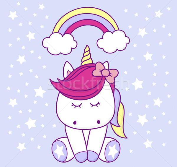 cute unicorn with rainbow Stock photo © hayaship