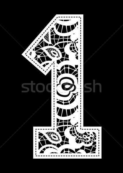刺繍 レース 番号 実例 孤立した 黒 ストックフォト © hayaship