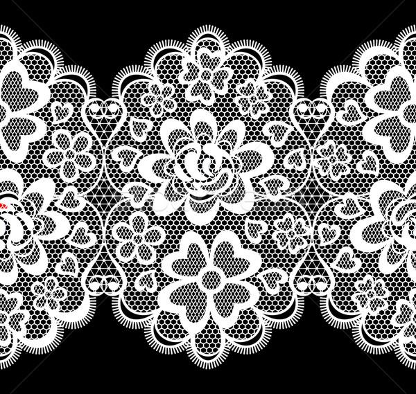 レース 刺繍 シームレス 国境 孤立した 黒 ストックフォト © hayaship