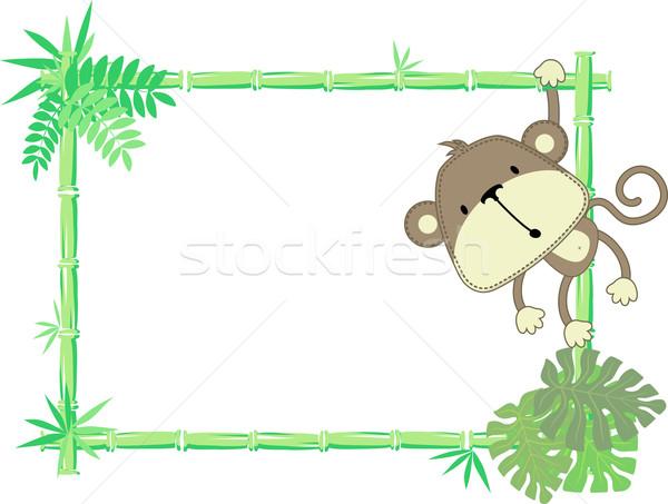 Bébé singe cadre vecteur feuille Photo stock © hayaship