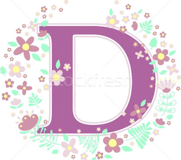 D betű dekoratív virágok terv elemek izolált Stock fotó © hayaship