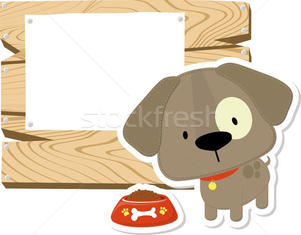 Cute bébé chien bord chiot bois Photo stock © hayaship
