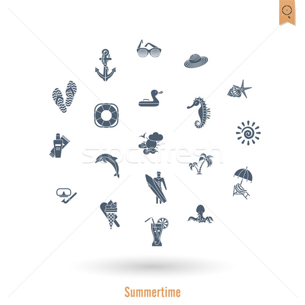 Summer and Beach Simple Flat Icons Stock photo © HelenStock