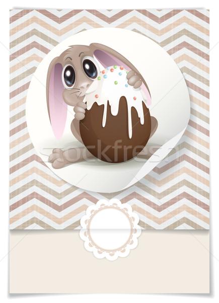 Conejo de Pascua chocolate huevo tarjeta de felicitación plantilla de diseño eps Foto stock © HelenStock