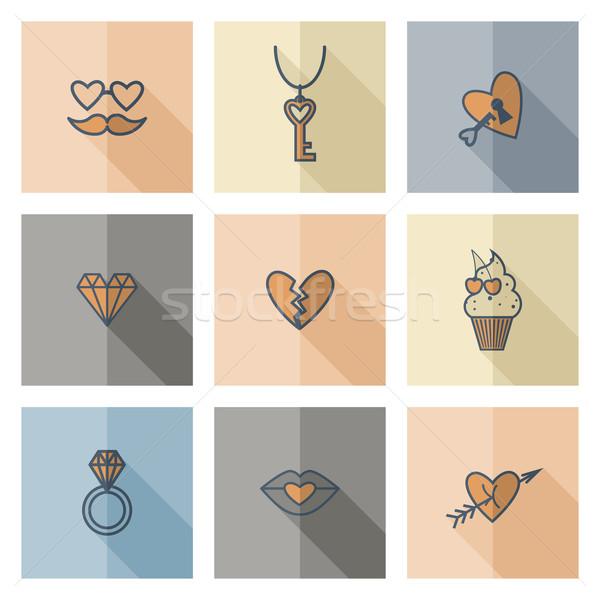 Feliz dia dos namorados ícones simples coleção casamento Foto stock © HelenStock
