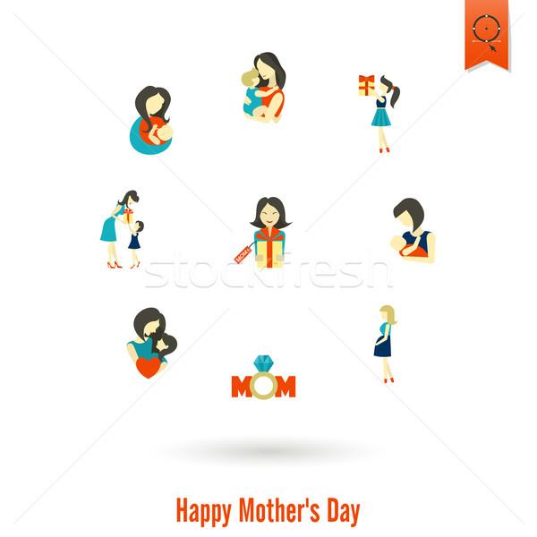幸せな母の日 アイコン 単純な ベクトル クリーン 作業 ストックフォト © HelenStock