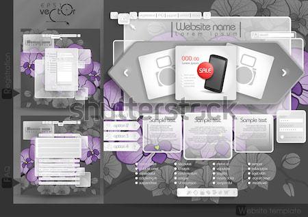 Foto d'archivio: Progettazione · di · siti · web · modello · menu · elementi · faq · registrazione