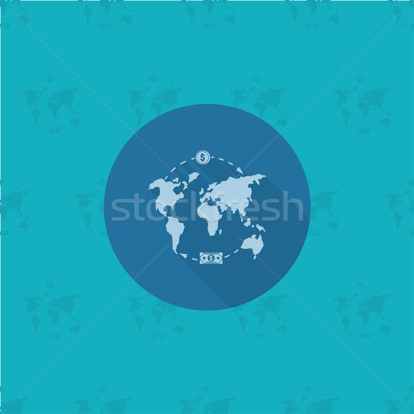 Wereldkaart geld business financieren icon eenvoudige Stockfoto © HelenStock
