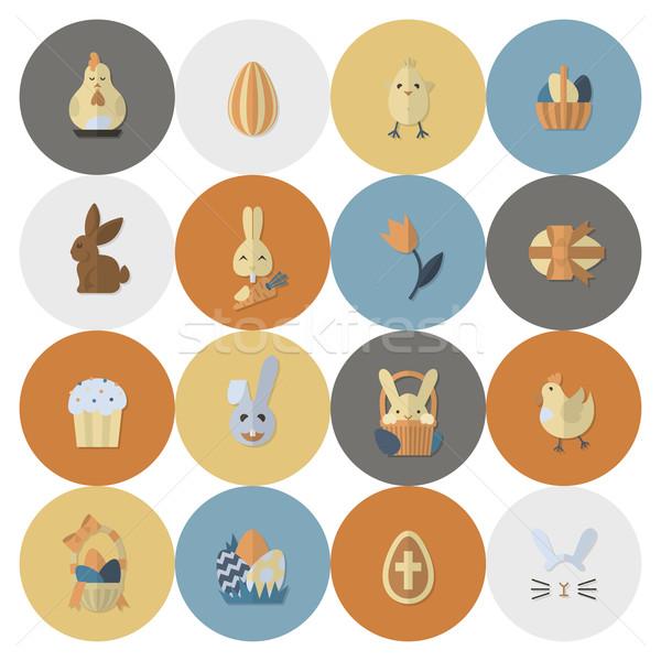 Celebración Pascua iconos vector limpio trabajo Foto stock © HelenStock