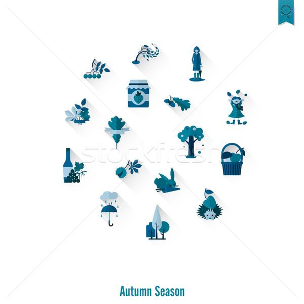 Foto stock: Establecer · otono · iconos · simple