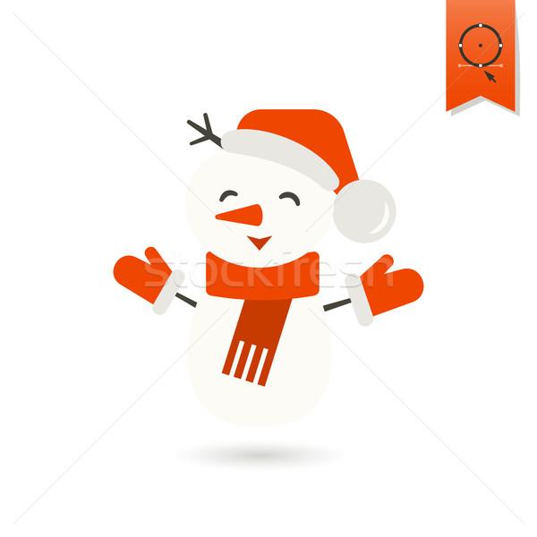Vicces hóember sál színes ikon hó Stock fotó © HelenStock