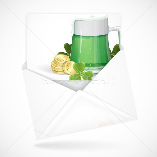 Kubek zielone piwa Dzień Świętego Patryka kartkę z życzeniami eps Zdjęcia stock © HelenStock