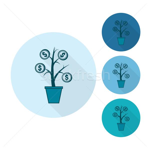 Dinheiro flor negócio financiar ícone simples Foto stock © HelenStock