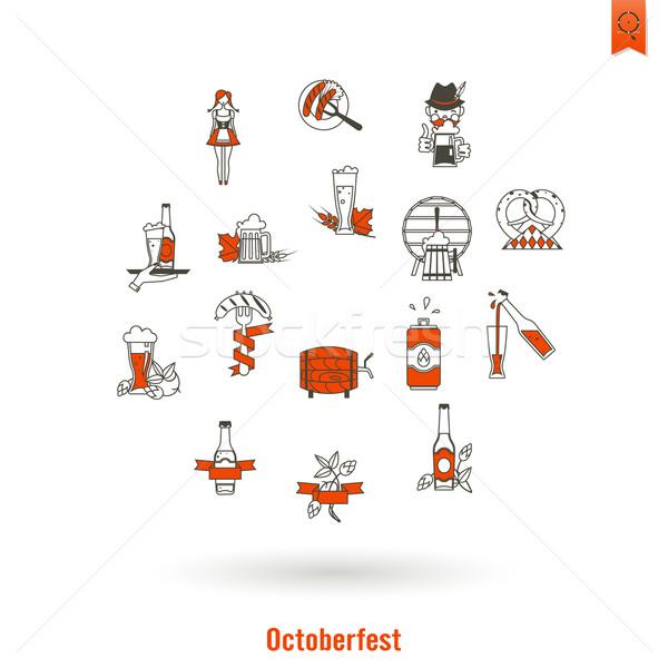 Oktoberfest cerveza festival diseno estilo vector Foto stock © HelenStock