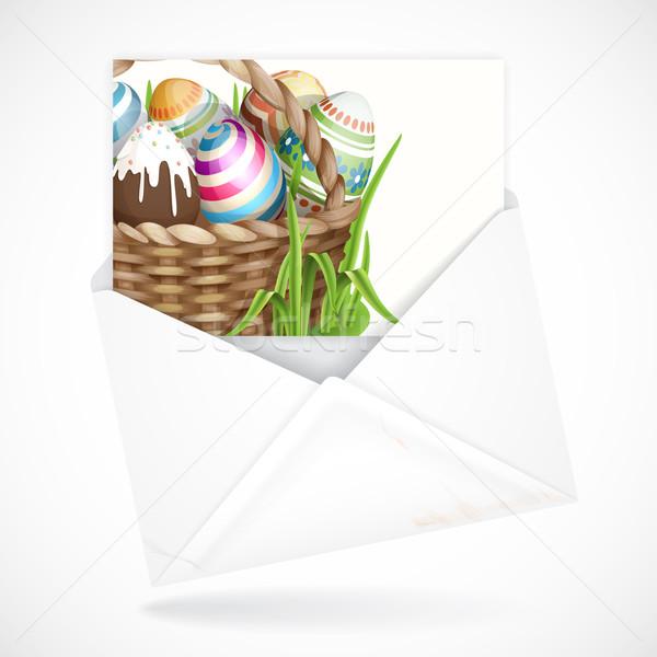 Húsvét kosár üdvözlőlap tele húsvéti tojások eps Stock fotó © HelenStock