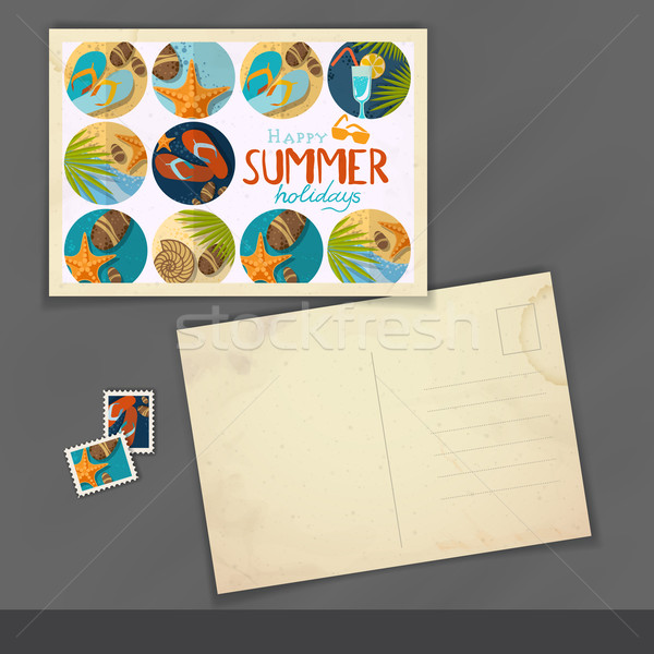 Oude briefkaart ontwerpsjabloon eps 10 papier Stockfoto © HelenStock