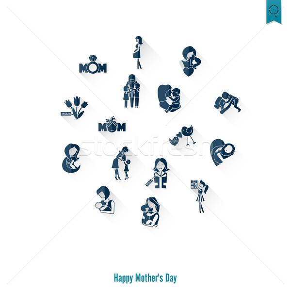 Boldog anyák napját ikonok egyszerű vektor tiszta munka Stock fotó © HelenStock