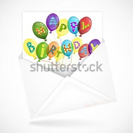 Foto stock: Cartão · colorido · aniversário · feliz · projeto · bolo