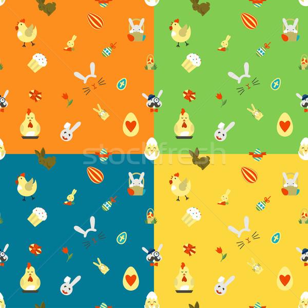 Пасху четыре различный цветами вектора Сток-фото © HelenStock
