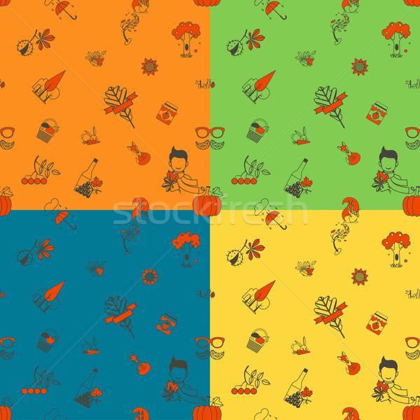 ősz végtelen minta négy különböző színek vektor Stock fotó © HelenStock