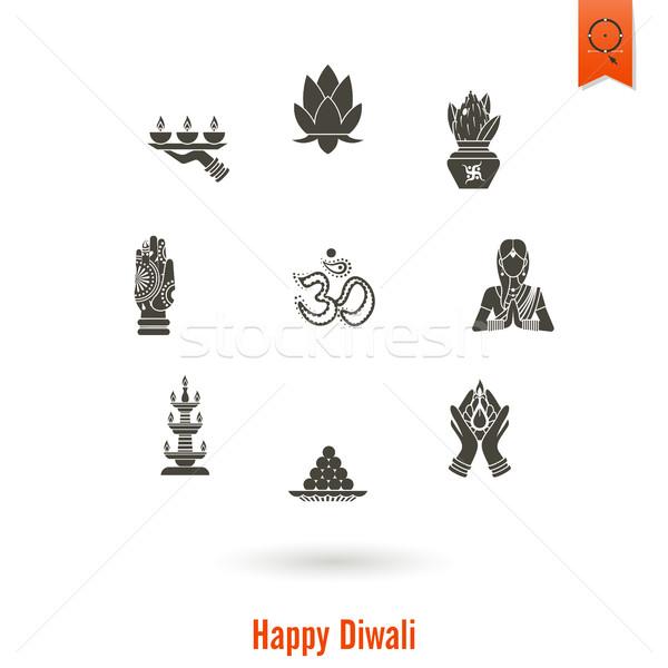 Diwali indiano festival ícones simples Foto stock © HelenStock