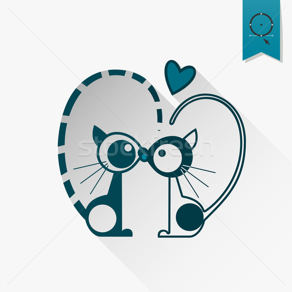 Szczęśliwy walentynki ikona proste ślub miłości Zdjęcia stock © HelenStock