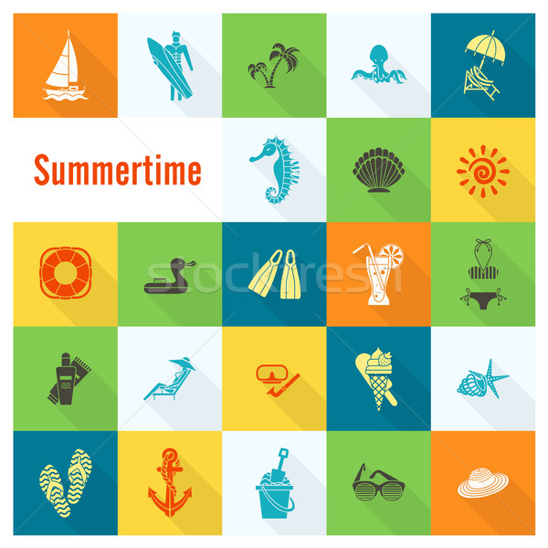 Verano playa simple iconos viaje vacaciones Foto stock © HelenStock