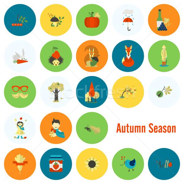Szett ősz ikon szett ikonok egyszerű minimalista Stock fotó © HelenStock
