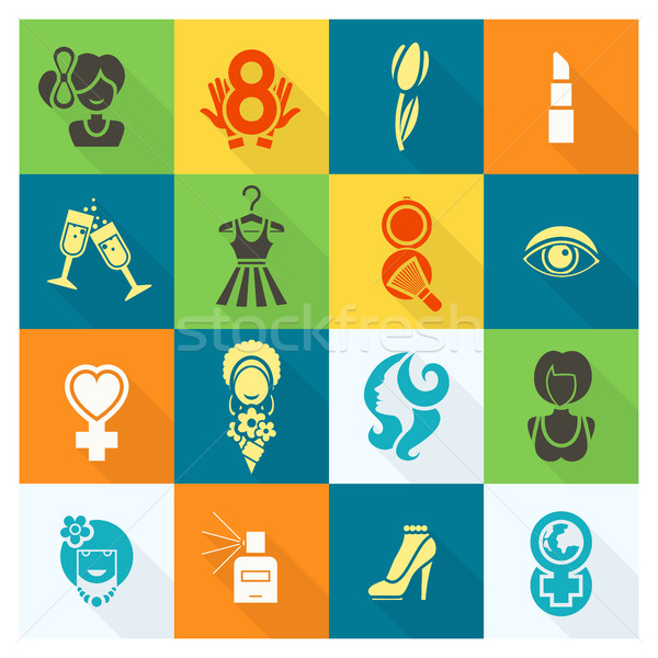 Womans Day Icon Set Stock photo © HelenStock