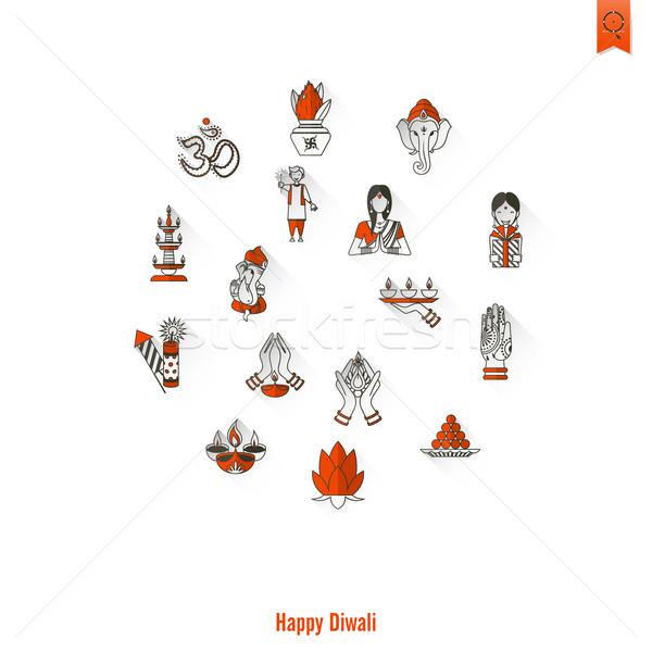 Diwali indian festival icone semplice Foto d'archivio © HelenStock