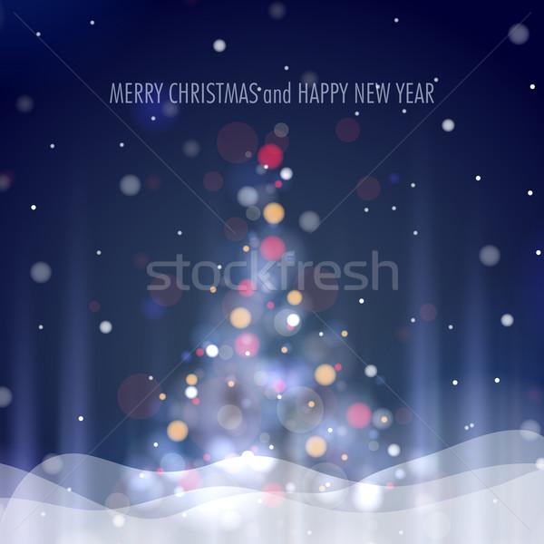 ストックフォト: クリスマスツリー · eps · 10 · テクスチャ · 光