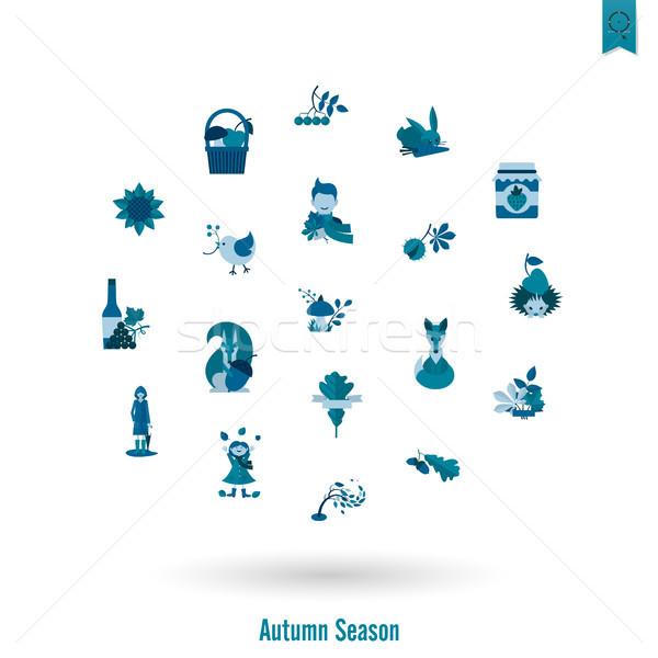Automne icônes simple Photo stock © HelenStock