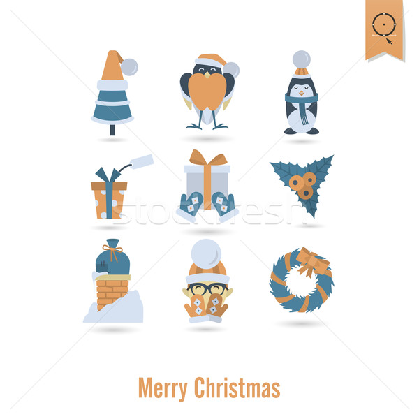Рождества зима иконки коллекция ретро цвета Сток-фото © HelenStock