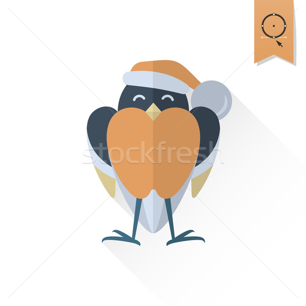Funny Bird Bullfinch in Christmas Cap Stock photo © HelenStock