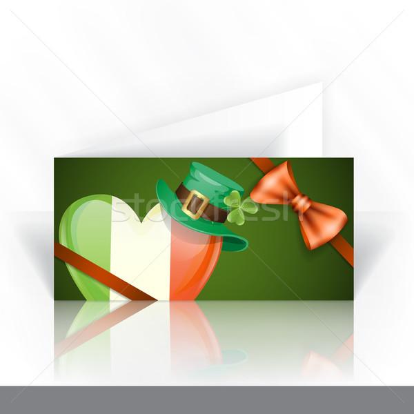 Foto stock: Irlandés · bandera · forma · corazón · plantilla · de · diseño
