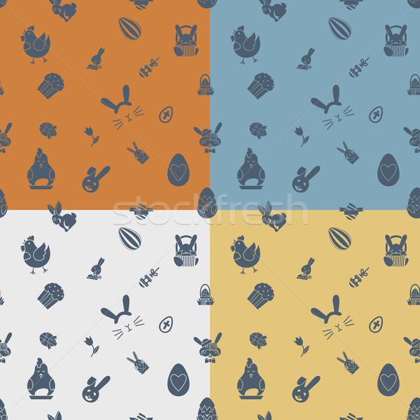 Stock fotó: Húsvét · végtelen · minta · négy · különböző · színek · vektor