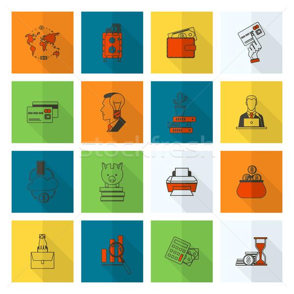 üzlet pénzügy ikon gyűjtemény egyszerű minimalista stílus Stock fotó © HelenStock
