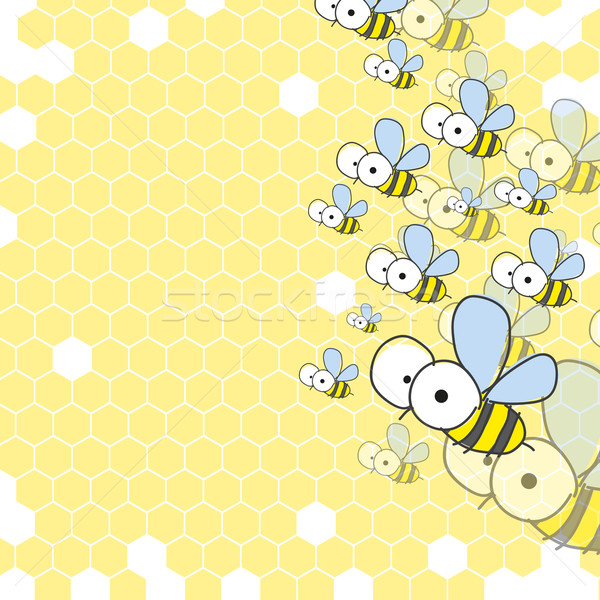 Bees And Honeycomb. Spring Background. Stock photo © HelenStock