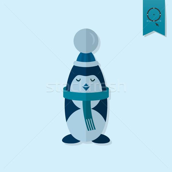 Karácsony pingvin monokróm szín vektor baba Stock fotó © HelenStock