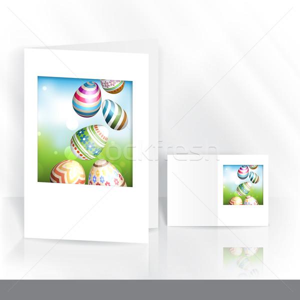 Huevos de Pascua hierba tarjeta de felicitación plantilla de diseño eps 10 Foto stock © HelenStock