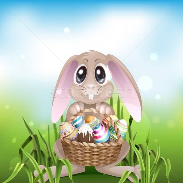 The Easter Bunny With A Basket Full Stock photo © HelenStock