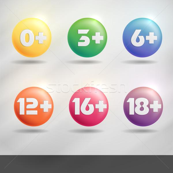 セット 年齢 標識 eps 10 インターネット ストックフォト © HelenStock