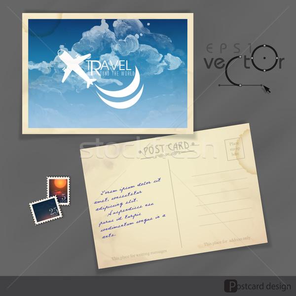 Stok fotoğraf: Eski · kartpostal · tasarım · şablonu · eps · 10 · soyut