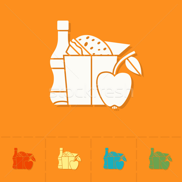 Schule Bildung Symbole Symbol Mittagessen Vektor Stock foto © HelenStock