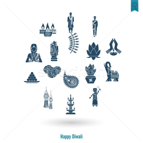 Diwali. Indian Festival Icons Stock photo © HelenStock
