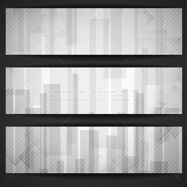 Soyut beyaz dikdörtgen afiş eps Stok fotoğraf © HelenStock