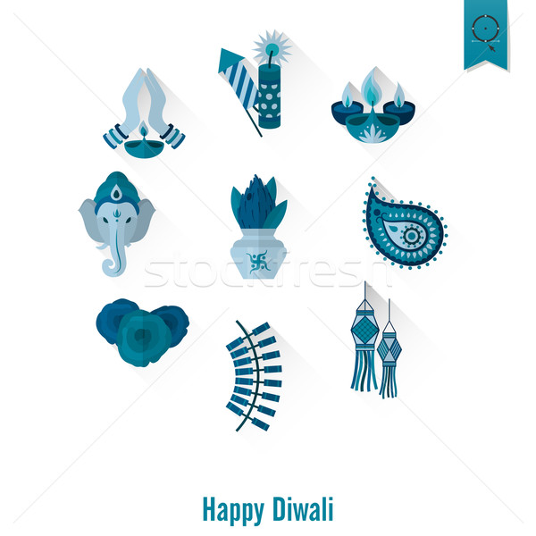 Diwali. Indian Festival Icons Stock photo © HelenStock