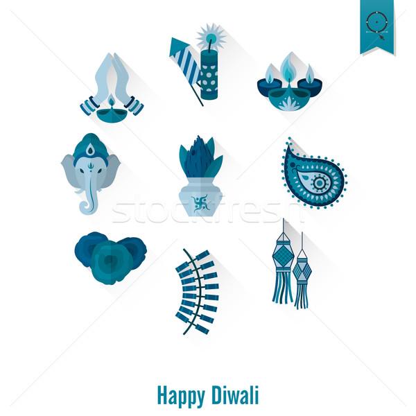 Diwali indio festival iconos simple Foto stock © HelenStock