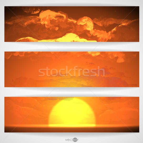 Gün Batımı Gündoğumu Bulutlar Boyama Resim Eps Vektör